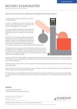 Güvenlik Notu - Rotary Evaporatör Kullanma Talimatı
