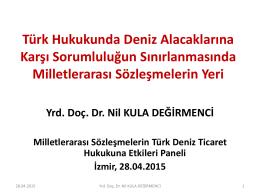 Türk Hukukunda Deniz Alacaklarına Karşı Sorumluluğun