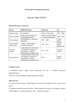 Doç. Dr. Tümer GÜVEN - Ankara Atatürk Eğitim ve Araştırma