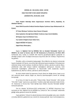 MÜSİAD, 06 - 08.10.2015, DOHA - KATAR HIGH