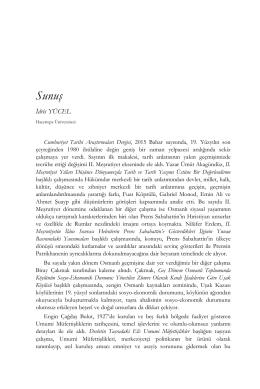 Sunuş - CTAD:Cumhuriyet Tarihi Araştırmaları Dergisi