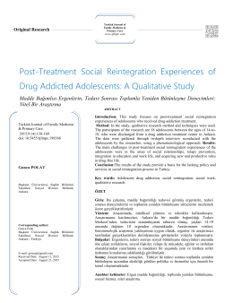 Post-Treatment Social Reintegration Experiences of Drug Addicted