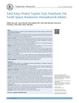 Total Kalça Protezi Yapılan Yaşlı Hastalarda Tek Taraflı Spinal