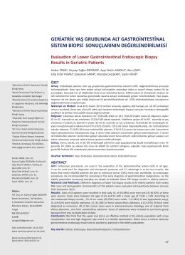 geriatrik yaş grubunda alt gastrointestinal sistem