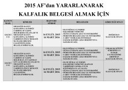 2015 AF`dan YARARLANARAK KALFALIK BELGESİ ALMAK İÇİN