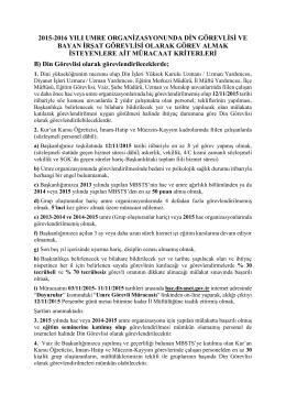 2015-2016 Umre Görevli Kriterleri