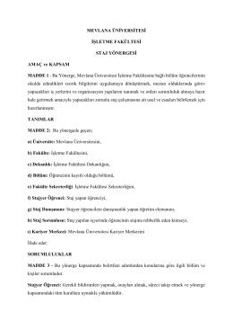 staj yönergesi - Mevlana Üniversitesi İşletme Fakültesi
