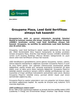 Groupama Plaza, Leed Gold Sertifikası almaya hak kazandı!