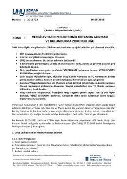 Duyuru-2015-23 - uhy uzman yeminli mali müşavirlik ve bağımsız
