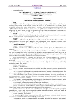 Resmî Gazete - Antalya Halk Sağlığı Müdürlüğü