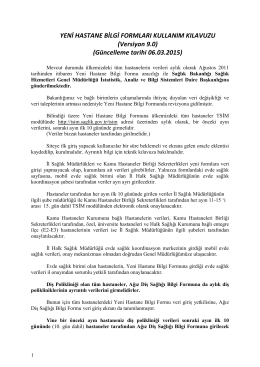 YENİ HASTANE BİLGİ FORMLARI KULLANIM - ÇKYS-TSİM