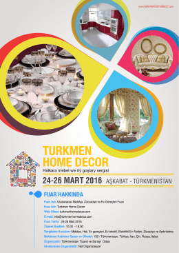 24-26 MART 2016 - Turkmen Home Decor