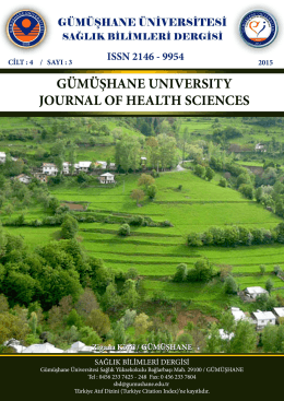 Gümüşhane University Journal Of Health Sciences