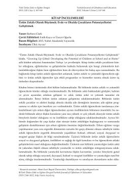 İnceleme - Türk Üstün Zeka ve Eğitim Dergisi