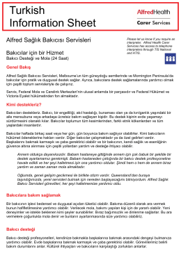 Turkish Information Sheet - Alfred Health Carer Services