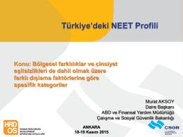 Türkiye`deki NEET Profili