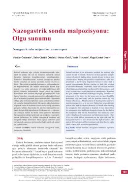 PDF - Nazogastrik sonda malpozisyonu: Olgu sunumu