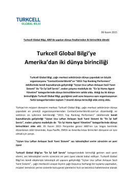 Turkcell Global Bilgi`ye Amerika`dan iki dünya birinciliği