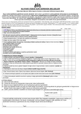 au-paır vizesi için gereken belgeler