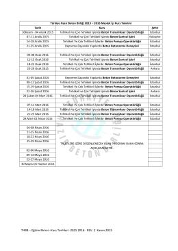 THBB – Eğitim Birimi –Kurs Tarihleri ‐2015 2016‐ REV. 2 Kasım 2015