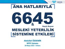 Abdullah ÖZDEMİR MYK Uzmanı 29 Mayıs 2015 - Ankara