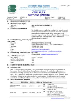 Güvenlik Bilgi Formu CEM I 42,5 R PORTLAND