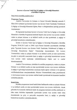 http://www.esertifika.anadolu.edu.tr Anadolu Üniversitesi ile Çalışma