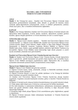 Öğrenci Evleri Yönergesi - İstanbul Arel Üniversitesi