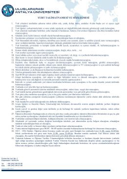 yurt talimatnamesi ve sözleşmesi - Uluslararası Antalya Üniversitesi