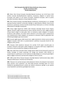 Brasillia Deklarasyonu - Trafik Hizmetleri Başkanlığı