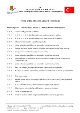 T.C. ÇEVRE VE ŞEHİRCİLİK BAKANLIĞI Çevresel Etki