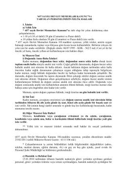 """1. İzinler a) Yıllık İzin """" 657 sayılı Devlet Memurları Kanunu"""" na tabi"""