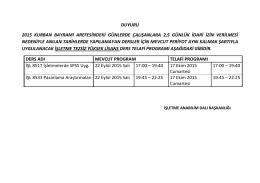 DUYURU 2015 KURBAN BAYRAMI AREFESİNDEKİ GÜNLERDE ÇALIŞANLARA 2,5