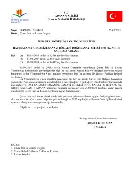 Çevre izin lisans belgesi
