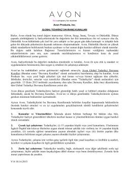 V14 10.14.2015 GLOBAL TEDARİKÇİ DAVRANIŞ KURALLARI