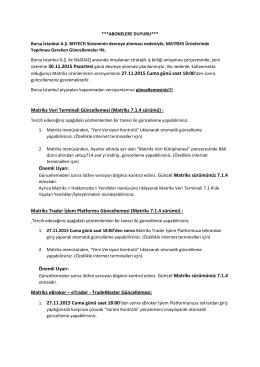 Matriks Veri Terminali Güncellemesi (Matriks 7.1.4 sürümü) : Önemli