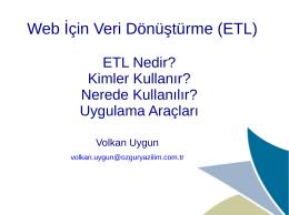 Web İçin Veri Dönüştürme (ETL)