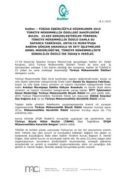 KalDer – TÜSİAD İŞBİRLİĞİYLE DÜZENLENEN 2015 TÜRKİYE
