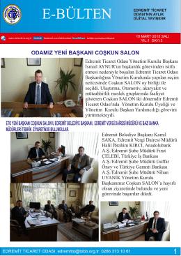 MART 2015 - Edremit Ticaret Odası