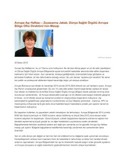 Dünya Sağlık Örgütü Avrupa Bölge Ofisi Direktörü`nün Mesajı