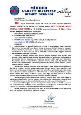 KKTC – GIRNE, MERIT Sayın Mustafa DÖNMEZ