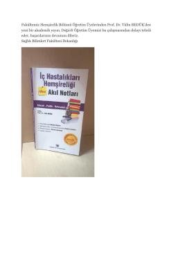 Prof. Dr. Tülin BEDÜK`den yeni bir akademik yayın