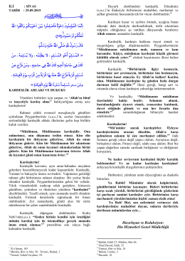 25.09.2015 kardeşlik ahlakı ve hukuku