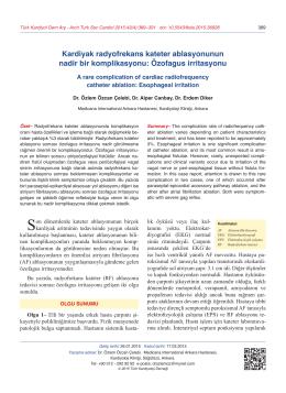 Özofagus irritasyonu - Türk Kardiyoloji Derneği Arşivi