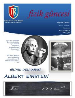fizik güncesi BİLİMİN DELİ DÂHİSİ ALBERT EINSTEIN