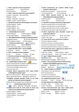 1. Word programı ne tür bir programdır? A) Hesaplama B) Resim