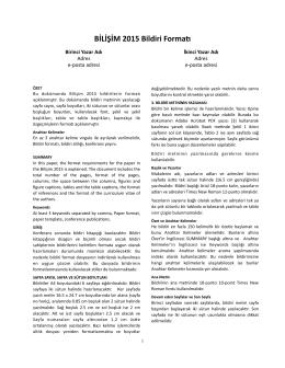 Bildiri Gönderim Formatı (PDF Dosyası)