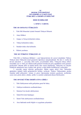 TC BOZOK ÜNİVERSİTESİ FEN-EDEBİYAT FAKÜLTESİ TÜRK DİLİ