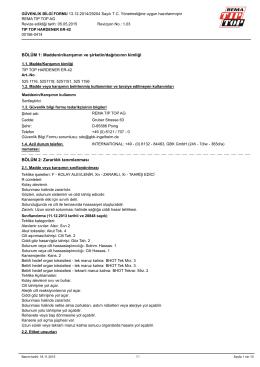 BÖLÜM 1: Maddenin/karışımın ve şirketin/dağıtıcının - Rema Tip-Top