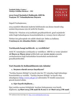 TPC Seçim Bildirisi - TÜRKÇE - Turkish Policy Center | Türkiye